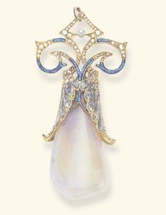 AN ART NOUVEAU OPAL, DIAMOND AND ENAMEL PENDANT, BY GEORGES FOUQUET. The fire opal drop, set within an opalescent and blue cloisonné enamel winged cap, to the blue cloisonné enamel and rose-cut diamond scrolled trim, enhanced by a pearl, suspended by a blue enamel bail, mounted in 18k gold, circa 1900, with French assay mark. Signed G. Fouquet for Georges Fouquet. #ArtNouveau #Fouquet #pendant