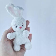 This item is unavailable Miniature White Bunny Tiny Artist Teddy Rabbit Blythe Friend Ooak Teddy Bunny Blythe Animal Dollhous Crochet Bunny, Crochet Animals, Crochet Dolls, Hand Crochet, Tiny Bunny, Dollhouse Accessories, Sugar Paste, Gum Paste, Handmade Toys