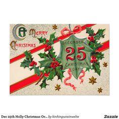 Dec 25th Holly Christmas Ornament 5x7 Paper Invitation Card