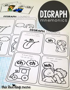 Digraph Mnemonics Pages {free!} - This Reading Mama Kindergarten Literacy Stations, Kindergarten Anchor Charts, In Kindergarten, Preschool Literacy, Kindergarten Worksheets, Literacy Centers, Digraphs Worksheets, Spelling Worksheets, Consonant Digraphs