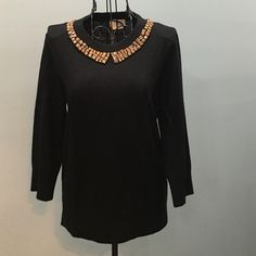 Kate Spade Black Stud Sweater. Worn Once. Black Cashmere & Wool Kate Spade Sweater. 3/4 Sleeves. Bronze studs around the neckline.  Soft & Fun. Size Medium. Perfect Condition. kate spade Sweaters