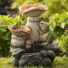 A cheerful frog plays hide-and-go-seek with a baby frog in this Jeco Frog Playing On Mushroom Indoor/Outdoor Fountain . A perfectly whimsical fountain,. Indoor Waterfall Fountain, Small Water Fountain, Indoor Wall Fountains, Garden Water Fountains, Indoor Fountain, Tabletop Water Fountain, Diy Fountain, Indoor Water Garden, Backyard Water Feature