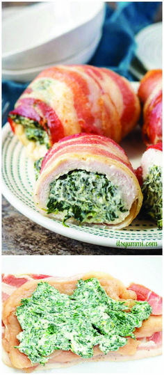 Bacon wrapped chicken roll ups - boneless chicken breasts stuffed with cream cheese and spinach, wrapped with bacon. These baked chicken bundles are low carb and SO good. Spinach Recipes, Bacon Recipes, Easy Chicken Recipes, Cooking Recipes, Healthy Recipes, Healthy Chicken, Game Recipes, Healthy Eats, Recipes