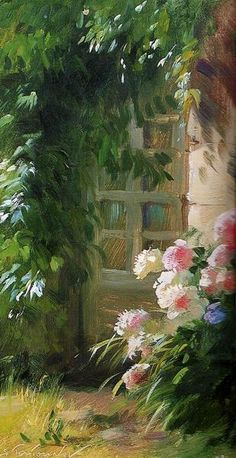 Thank you for your pins today! Tonight and Friday, let's do art by SERGUEI TOUTOUNOV. (I believe I'll have to make a board of this one . Paintings I Love, Beautiful Paintings, Garden Painting, Garden Art, Art Floral, Portraits Pastel, Images D'art, Cottage Art, Rose Cottage