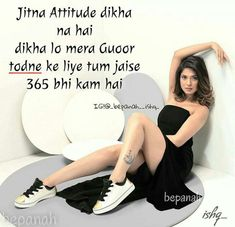 #Ånam khan*** Attitude Quotes For Girls, Girl Attitude, Maya Quotes, Adorable Quotes, Girl Facts, Jennifer Winget, Girls Dpz, Queen Quotes, Abs