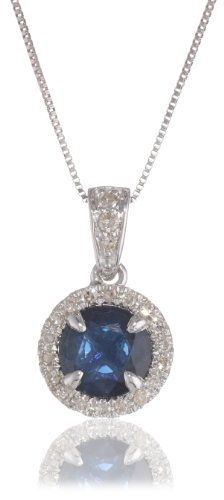 """14k White Gold, Blue Sapphire, and Diamond (.16 cttw) Halo Pendant Necklace, 18"""" Amazon Curated Collection,http://www.amazon.com/dp/B00BTYXSAU/ref=cm_sw_r_pi_dp_69P5rb0Z85QJFZCY"""