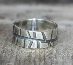 A handmade Silver Wedding Band Organic Mans Wedding Band