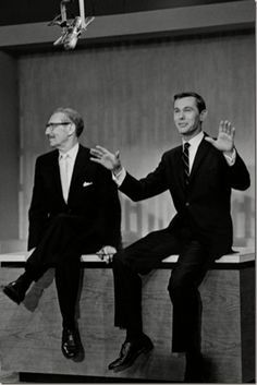 'Groucho Marx introducing Johnny Carson the first night in 1962 that he was host of The Tonight Show'
