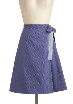 Twice the Treat Skirt - Blue, White, Polka Dots, Work, Daytime Party, Rockabilly, Vintage Inspired, A-line, Cotton, Mid-length, Nautical #Modcloth