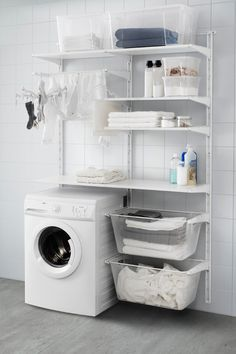 Versatile storage for anywhere in your home. That's the IKEA ALGOT series. Bec… Versatile storage for anywhere in your home. That's the IKEA ALGOT series. Because ALGOT can be easily customized to fit your space and storage needs, it can be used throughou Ikea Laundry Room, Basement Laundry, Small Laundry Rooms, Laundry Room Organization, Laundry Room Design, Ikea Utility Room, Ikea Closet, Laundry Baskets, Bathroom Laundry