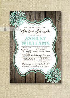 Aqua Teal Bloom Bridal Shower Invitation Rustic Wood Shabby Chic Distressed Mint Wedding Invite Printable Digital or Printed - Ashley Style on Etsy, $23.00