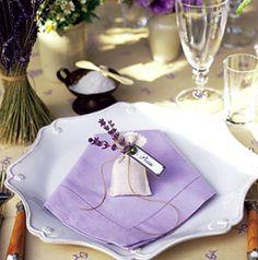 decor, favors, linen, place setting, napkin, deco, details, lavender, purple, reception, herbs lavender /lavanda / lavander