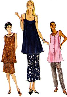 Vogue Maternity: Skirt in 2 Lengths, Tunic with Neckline Variations and Tapered Pants, Size 6-8-10, Bust 30-31-32, Sewing Pattern 7095 by TheGrannySquared on Etsy