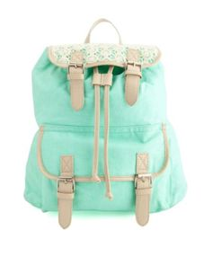 Crochet-Topped Belted Canvas Backpack: Charlotte Russe