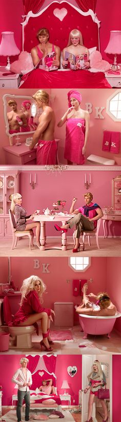 "Check out this amazing photoshoot by Dina Goldstein she titled ""In The Dollhouse."""