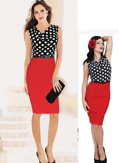 2015 Sexy Summer Dresses Draped Neck Polka Dot Color Block To Wear To Work Party Dress LQ4404