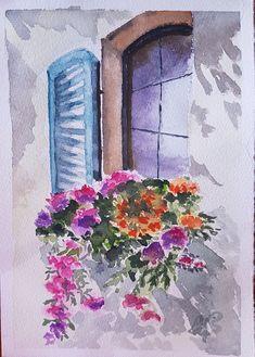 Watercolor Ocean, Watercolor Illustration, Tattos, Cards, Bullet Journal, Painting, Windows, Goals, Amor