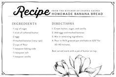 Fresh Banana Bread | Chip & Joanna Gaines | Magnolia Market | Recipe | Back to School | Waco, TX