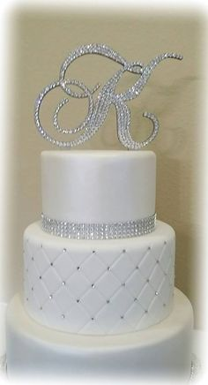 Monogram Wedding Cake Topper Crystal Initial by EnchantingMoment Fake Wedding Cakes, Fondant Wedding Cakes, Elegant Wedding Cakes, Cake Fondant, Elegant Cakes, Wedding Cupcakes, 3 Teir Wedding Cake, Monogram Cake Toppers, Custom Cake Toppers