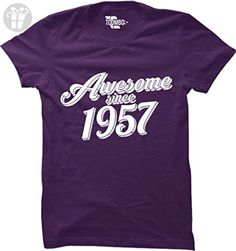 Awesome Since 1957 - 60th Birthday WOMENS T-shirt Tee (Medium, PURPLE) - Birthday shirts (*Amazon Partner-Link)