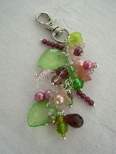 Hand made Beaded Handbag Charm - Green, Pink & Purple | eBay