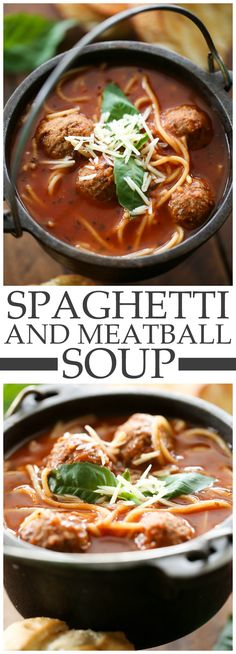 Spaghetti and Meatball Soup... This soup is so delicious and perfect for the winter! It reminds me a lot of Chicken Noodle Soup only Spaghetti Style!