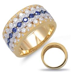 Bold Gold white and yellow gold diamond band with bright white diamonds and intense natural #bluesapphires