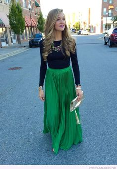 Long green skirt and a black blouse