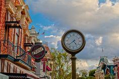 One More Disney Dat at Disneyland, Main Street Clock  This is my hunny's photo - I think it really rocks!!
