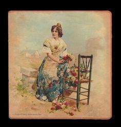 1  ANCIEN GRAND CHROMO - Femme prépare des bouquets - Impr.Hijas de S.Pablo