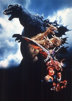 Textless poster art for Godzilla, Mothra, and King Ghidorah (2001).