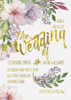 "Watercolor Watercolour Spring Floral Gold Foil Whimsical Wedding Invitation Suite Printable Download ""5x7"" & ""5x3.5"" 300dpi High Resolution by InvitesByLinda on Etsy https://www.etsy.com/listing/268620504/watercolor-watercolour-spring-floral"