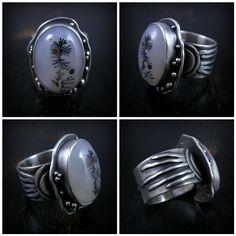 dendritic agate by Purified Bill Stone Jewelry, Jewelry Art, Jewelry Rings, Jewelery, Silver Jewelry, Jewelry Design, Women's Rings, Dendritic Agate, Magical Jewelry