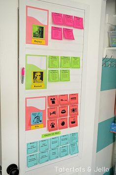 Make a Post-It Note Chore Chart (With Free Printables!) - Tatertots and Jello post-it note chore chart system at tatertts and jello Free Printable Chore Charts, Chore Chart Template, Chore Chart Kids, Free Printables, Printable Templates, Household Chores Chart, Chore Rewards, Chore List, Chore Board