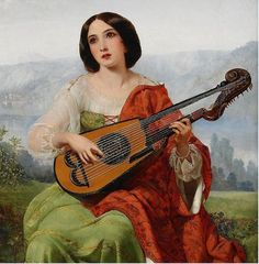 Pickersgrill ( A romantic scene with girl playing lute, detail.
