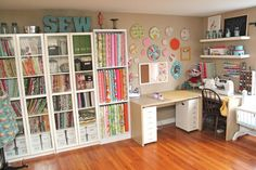 Smashed Peas and Carrots: My Sewing Studio Tour-The Reveal! Great organization ideas!!!