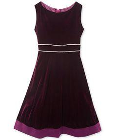 Rare Editions Little Girls' Burgundy A-Line Velvet Dress