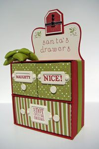 Santa's Drawers by Brenda Quintana  on Splitcoaststampers - Tutorials.  I can see this being used for other things