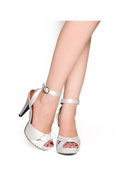 Pinup Couture - Bettie Heel in Ivory Satin | Pinup Girl Clothing