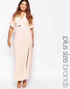 Club+L+Plus+Size+Belted+Maxi+Dress+With+Kimono+Sleeves+And+Side+Split
