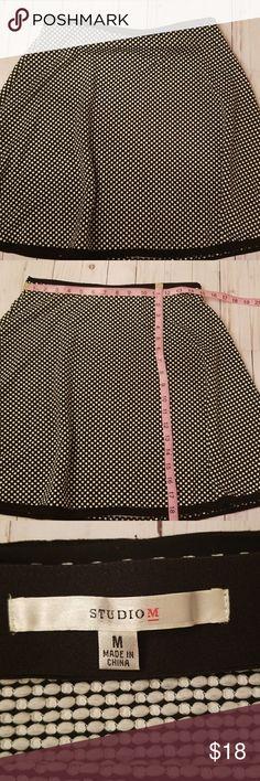 Studio M black and white polka dot skirt Cute, stylish and flirty skirt Black and white polka dot mini skirt Good condition love this skirt! Approx measurements in pics  Elastic waist no zipper. Studio M Skirts