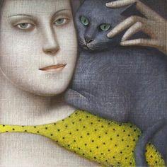 Jeune fille au chat gris. / By Vladimir Dunjic, 1957.