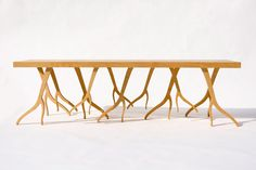 Modern Wood Bench - 'ROOTSY' series, contemporary design, nature inspired. $1,575.00, via Etsy.