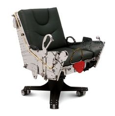 F4 Ejection Seat Chair - http://www.designswan.com/archives/cool-furniture-made-from-vintage-airplane-parts.html #aviationfurniture