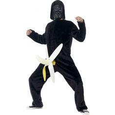 Funny King Dong gorilla apenpak. Grappig King Kong apen kostuum met banaan als geslachtsdeel. One size M/L en inclusief masker.
