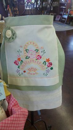 Vintage linen apron made from a pillowcase by Debbie Burnett.