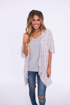 Heathered Lace Back Kimono - Dottie Couture Boutique