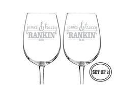 2 ETCHED Wine Glasses Personalized Wine by CreativeButterflyXOX, $26.95