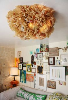 Nice Color, and the Ceiling light: DIY project made from a wire plastic and plastic bags