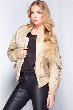 Kylie Camel Zip Front Bomber Jacket at misspap.co.uk